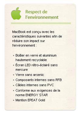 le MacBook face à l'environnement